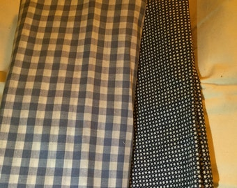 Two pieces of blue checked material
