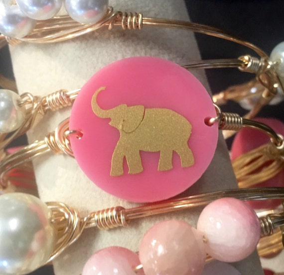 Elephant Bangle, Elephant Bracelet, Wire wrapped bangle