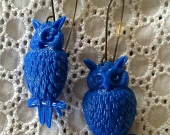 Blue owl earrings.  Funky fun earrings. Big blue 80s style dangle earrings