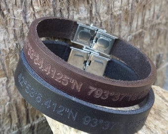 FREE SHIPPING-Men Bracelet,Men Leather Bracelet,Men Personalized Bracelet,Custom Leather Bracelet,Bracelets For Men, Stainless Steel clasp