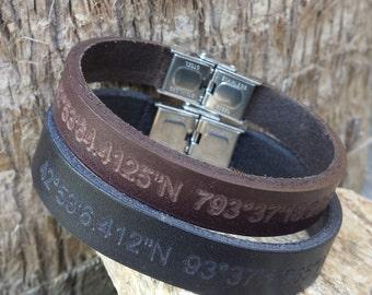 FREE SHIPPING-Men Bracelet,Men Leather Bracelet,Men Personalized Bracelet,Custom Leather Bracelet,Bracelets For Men, Stainless Steel clasp