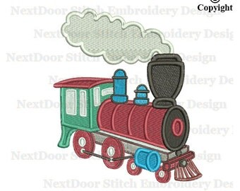 Locomotive train Filled Stitch Embroidery, steam engine machine embroidery design steamer,  vl-002-fill