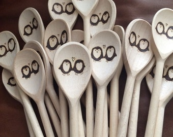 40 wooden spoons, custom design, wedding favours, party gifts, restaurant opening promotional material, kitchen gifts, pub table numbers,