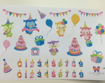 Birthday Owls Planner Stickers | Celebration | All Planners |