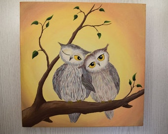 "Original acrylic painting canvas art wall art animal painting, home decor ""Owls in love"""
