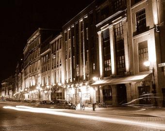 Streaking Lights - Rue de la Commune Est - Sepia - Old Montreal - Vieux-Port de Montréal - Montréal - Québec - Canada - Photo - Print
