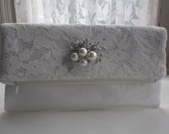 Fold over clutch bag, purse, wedding clutch bag, evening purse, prom purse, Ivory lace bag