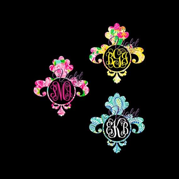 Fleurdelise Decal-Vine Monogram-Yeti Decal- Laptop Decal-Window Decal-Lilly Inspired-Monogram