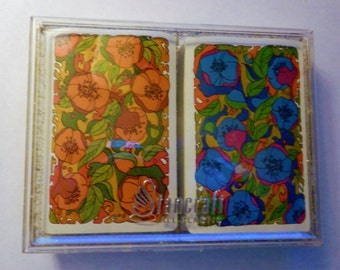 Retro Pop Art Theme Playing Cards Stancraft Red and Blue Flowers Vintage Plastic Gold Flaked Case Double Deck