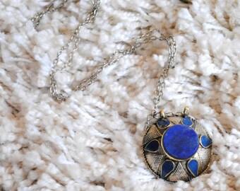 Lapis Lazuli Afghan Tribal Pendant Necklace