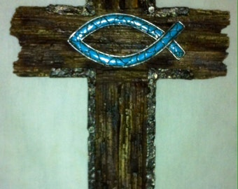 Cross Wall Decor Fish Turquoise C60218