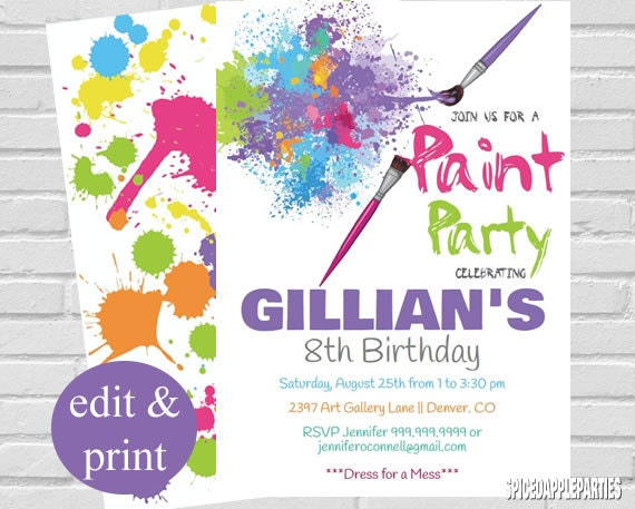 Paint party invitation art party invitation paint party birthday il570xn stopboris Choice Image