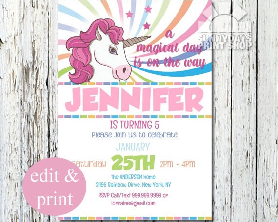 Rainbow Unicorn 5th Birthday Invitation 1st Party Invite