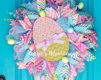 Deco Mesh Easter Wreath, Easter Egg Wreath, Easter Wreath, Happy Easter Wreath, Front Door Easter Wreath, Easter Outdoor Decor