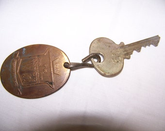 Brass Hotel Key and Tag from Hotel Benson  Portland OR - VINTAGE