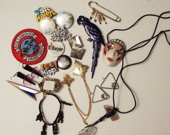 80s,  22 pieces of Pins and Costume Jewelry. Free Shipping!