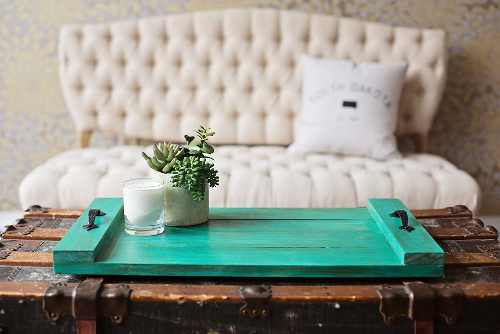 Rustic teal coffee table tray for Teal coffee table