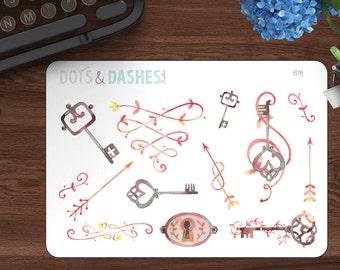 B78, Watercolor keys, key and lock stickers, decorative stickers, planner stickers, planner sticker deco sheet, kikki k, happy planner, eclp