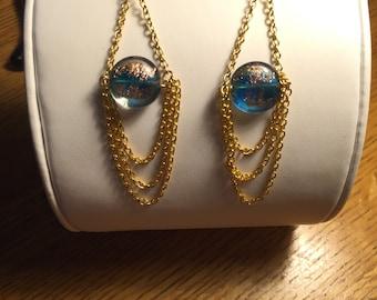 Shimmery Gold-Chain Chandelier Earrings