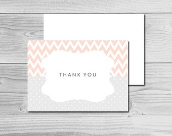 Chevron Peach and Gray Baby Shower - Thank You Cards - Instant Download Printable - Baby Girl