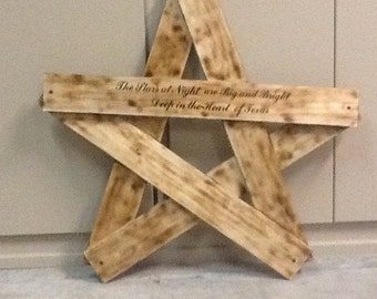 Wooden Star with pyrography lettering