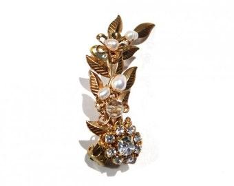 Pearl bijou flower single earring