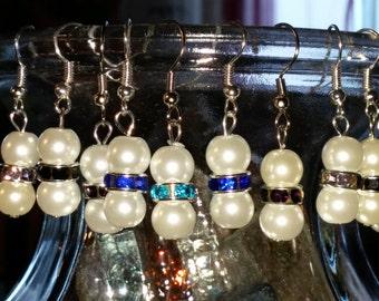 White pearl, earrings, rhinestone spacers