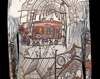 Saul Steinberg Novelty Print Trains Polyester Top 70s