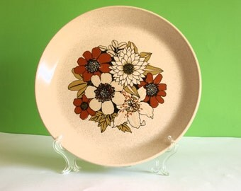 Retro Vintage 70s Johnson of Australia - Lausanne Pattern Dinner Plates - Daisy Sunflower Dinner Plates - Flower Power - Set of Four