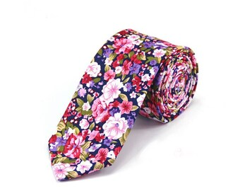 Retro Floral Skinny Tie 2.36 Inches