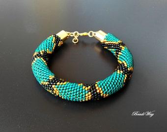 Serpent bracelet/Bracelet of beads/Bracelet green snake armband/bracelet/bracelet Браслет Браслет змея из бисера//Green