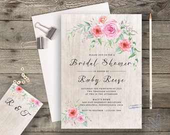 Floral Bridal Shower Printable Boho Chic Wedding Invitation Suite Bohemian Wedding Invite Modern Typography Spring / Summer Wedding