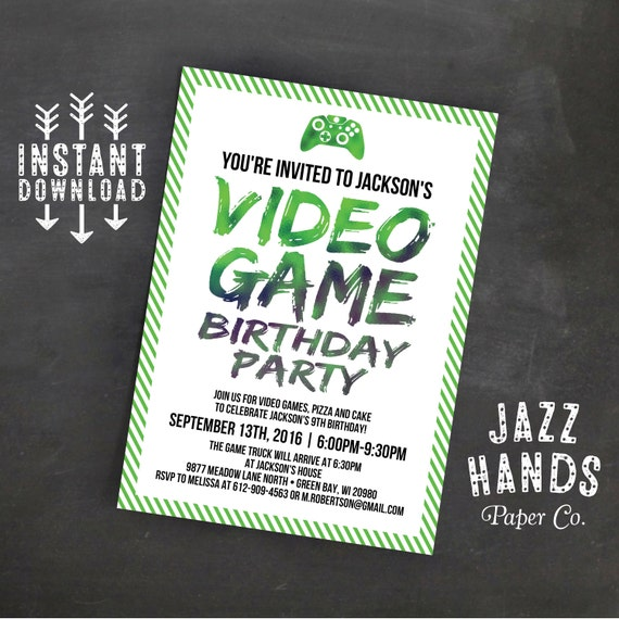 Printable Video Game Birthday Invitation Template