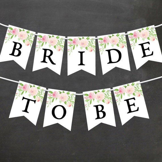 Diy Wedding Word Banners: Watercolor Floral Bridal Shower Banner DIY Printable