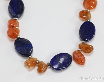 Lapis & Carnelian Gemstone Necklace, Blue and Orange Necklace, Gemstone Necklace, Silver Chain with Gemstones