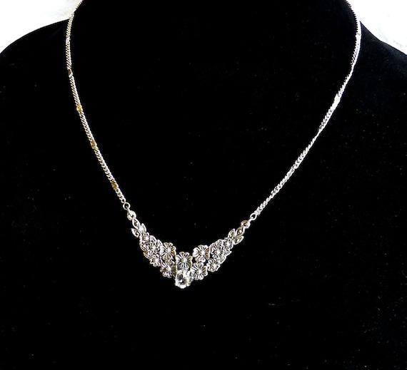 STERLING SILVER ~ QUARTZ ~ Pendant Necklace ~ Prong Set Clear Quartz ~ Sparkly ~ Marcasites In Corners ~ Vintage