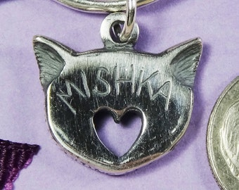Personalized Sterling Silver Cat Charm for Bracelet,Cat Head with Heart Charm,Cat of Mine Personalized Cat Jewelry,Cat Lover Gift for Her,