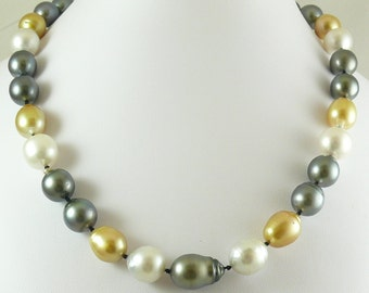 South Sea & Tahitian Multi-color 12.8mm x 19.3mm Pearl Necklace 14k White Gold
