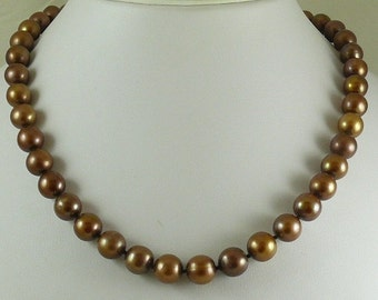 Freshwater Chocolate Necklace 14k Yellow Gold Clasp 18 Inches