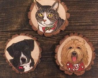 Woodburning Pet portrait ornament