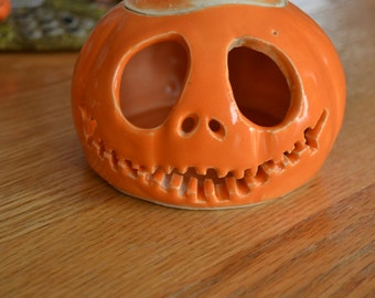 Happy Jack Skellington jack-o-lantern pumpkin candle holder