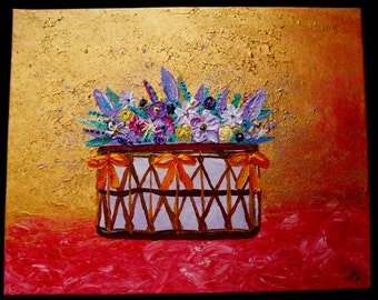 Flowers on gold 40 x 50cm