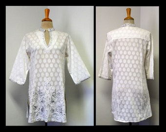 New White With Sliver Embroidered Artsy Designer Tunic top .S,M,L