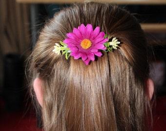 Pink Floral Hair Barrette