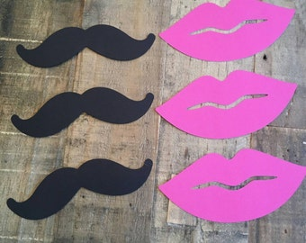 Mustaches and lips gender reveal accessories