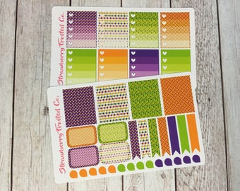Purple, Orange, Lime Halloween Themed Planner Stickers -- Made to fit Vertical Layout