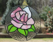 Stained Glass Rose Suncatcher - Round Panel - Mother's Day
