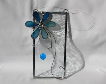 Stained Glass Suncatcher - Blue Flower - Valentine's Day - OOAK