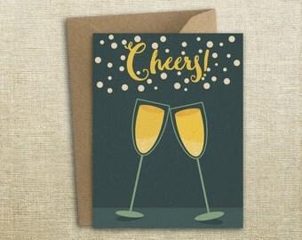 Champagne Cheers Congratulations Celebration Card