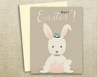Hoppy Easter- Happy Easter Bunny Rabbit Card - Easter Greetings- Easter Card - Rabbit Easter Card- Bunny Easter Card - Easter Bunny Card